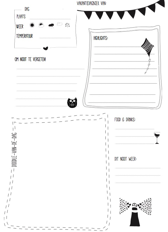Reisdagboek printable
